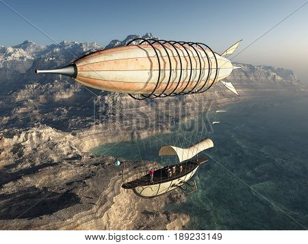 Computer generated 3D illustration with a fantasy airship over a coastal landscape