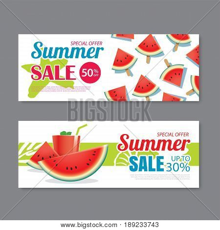 Summer sale voucher background template. Discount coupon. Banner season elements flat design.