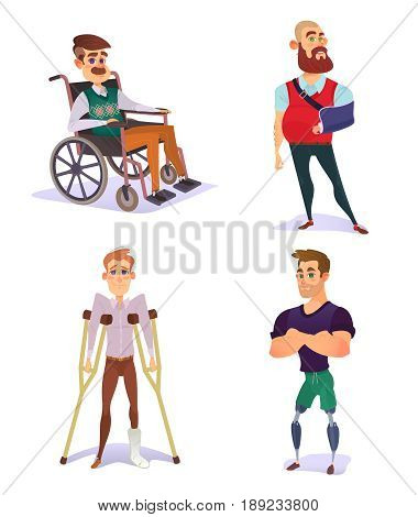 Set of cartoon illustrations of people with disabilities. Young and elderly men with limited opportunities in a wheelchair, on crutches, with prosthetic legs, with a broken arm
