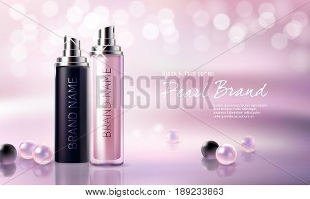 3D illustration for the promotion of moisturizing and nourishing cosmetic premium product. Matt black and pink bottles with night and day cosmetic on a pink background with luxury pearls