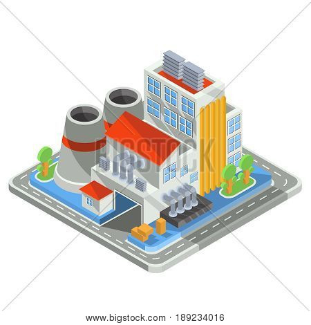 Set of isometric icons representing factory building, the plant with office building, smoke stack, industrial buildings