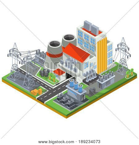 isometric illustration of a thermal power plant for the production of electrical energy to the smoke stacks of industrial buildings and power lines