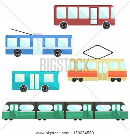 Flat colorful vector public transport set public service vehicle municipal mass transport
