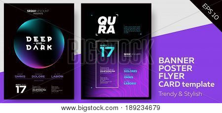 Electronic Music Dark Covers for Summer Fest or Club Party Flyer. Colorful Waves Gradient Background. Template for DJ Poster Web Banner Pop-Up.