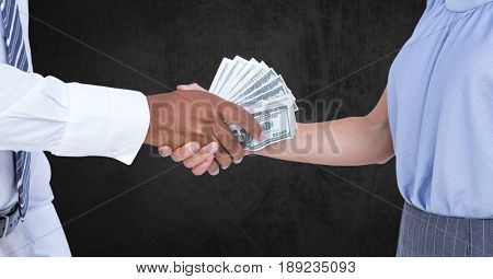 Digital composite of Cropped image of business people holding money representing corruption concept