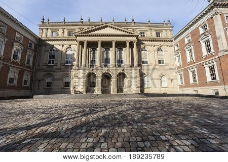 TORONTO, CANADA. December 26, 2014: Osgoode Hall, historic building in downtown Toronto in Canada. Landmark constructed between 1829 and 1832 in the late Georgian Palladian and Neoclassical styles.