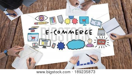 Digital composite of E-commerce text surrounded by graphics and business people's hands