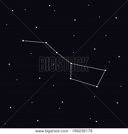 Big Dipper constellation in night sky. Ursa Major Vector Illustration