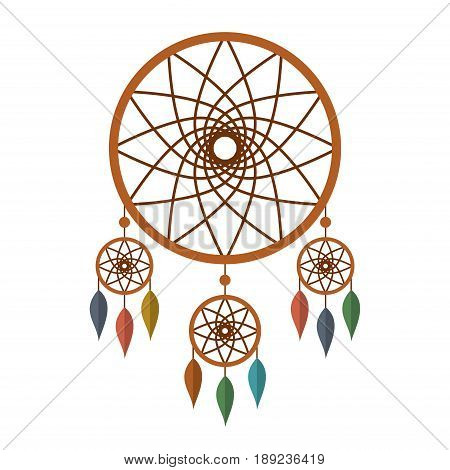 Dreamcatcher with colorful feathers isolated on white background. Native american indian dream catcher. Vector illustration