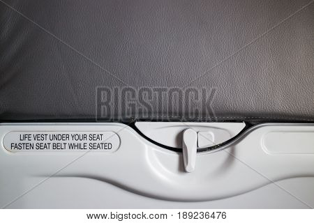 Airplane Cabin Plastic Food Tray stock photo