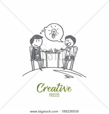 Vector hand drawn Creative process concept sketch. Two men sitting, drinking tea and talking about ideas