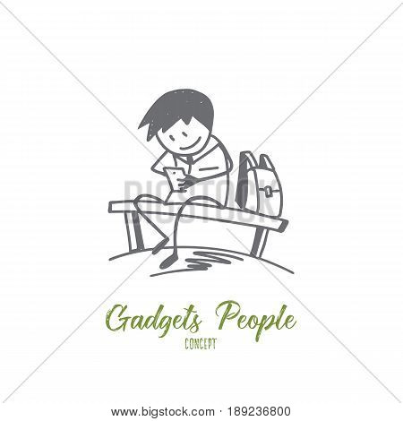 Vector hand drawn Gadget people concept sketch. Pupil sitting on bench and playing with his phone