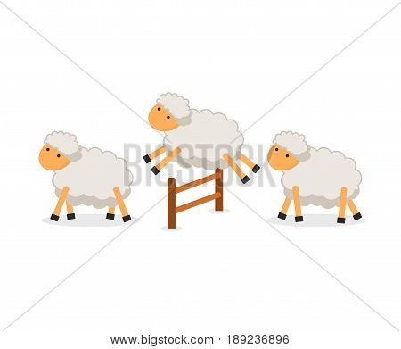 Cute sheep jumping over fence isolated on white background. Counting sheep to fall asleep. Vector illustration