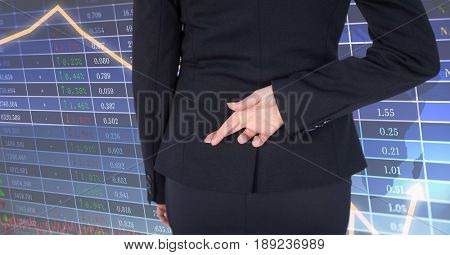 Digital composite of Rear view of woman crossing fingers with screen in background
