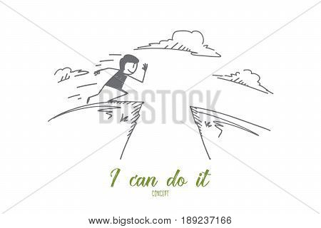 Vector hand drawn I can do it concept sketch. Man running and preparing to jump over gap to another hill