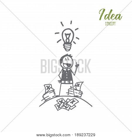 Vector hand drawn Idea concept sketch. Man standing with notes around and getting great idea in brain