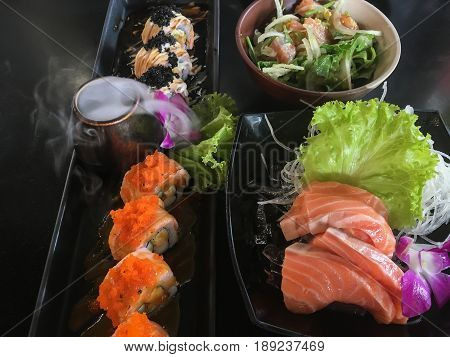 Salmon Gourmet Set Serving On Table stock photo