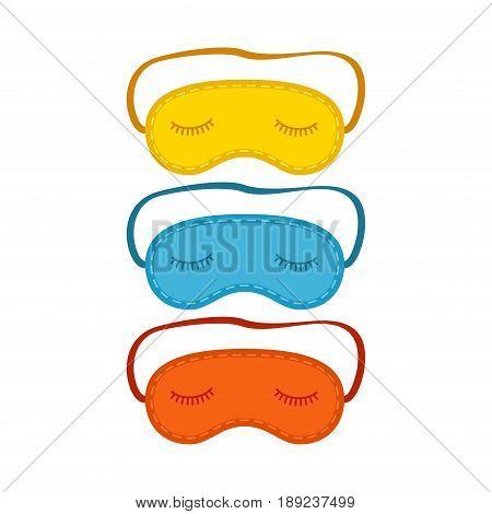 Colorful eye sleep mask set isolated on white background. Vector illustration
