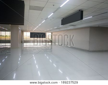 Standard Airport Hall With Window Glass Interior stock photo