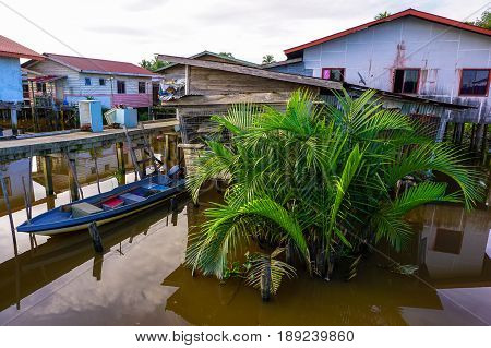 Weston,Beaufort,Sabah-May 28,2017:Floating houses of water village in Weston,Beaufort,Sabah,Borneo on 28th May 2017.Weston is a small fishing village that lies on the south western part of Sabah.