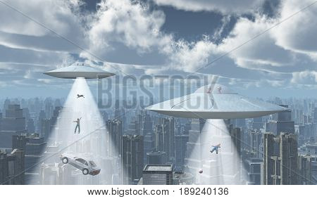 Computer generated 3D illustration with flying saucers over a big city