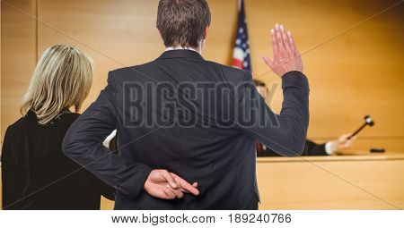 Digital composite of Men swearing in the judge with fingers crossed