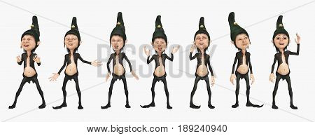 Computer generated 3D illustration with seven dwarfs isolated on white background