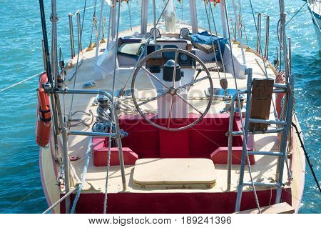 Steering Wheel On The Yacht