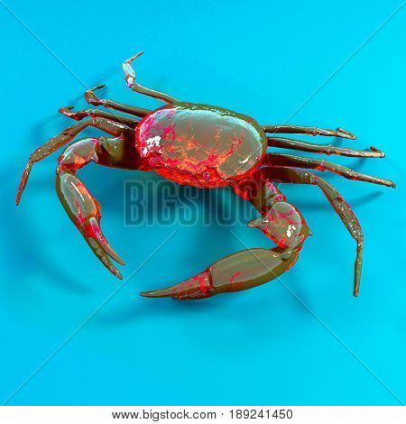 toy crab on the blue background. 3d illustration