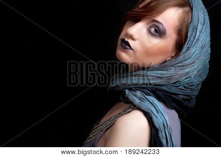Girl With Strong Dark Makeup