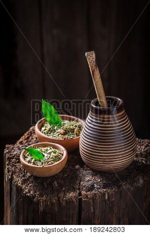 Healthy Yerba Mate With Bombilla And Calabash