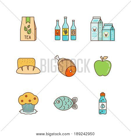 Vector Minimal Lineart Flat Food Iconset: Tea Pack, Wine, Milk, Bread, Meat, Fruits, Sweets, Fish, W