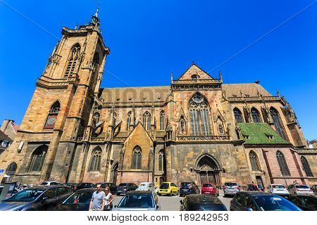 Colmar France - May 26 2017: Cathedral of Saint Martin (Eglise Saint Martin). The 13th-century Saint-Martin Collegiate Church is the main church and principal Gothic monument of Colmar.