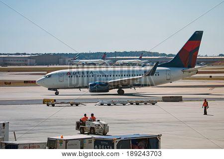 Atlanta Georgia - October 13 2016: Delta Airlines airplane starts a take off in Hartsfield-Jackson Atlanta International Airport.