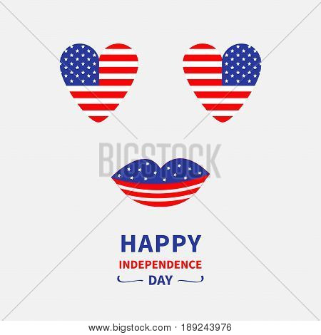 Heart shape american vector photo free trial bigstock heart shape american flag icon set face with eyes and lips star and strip m4hsunfo