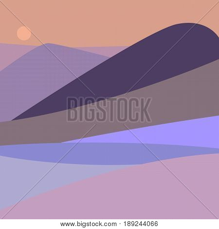 Vector illustration of landscape with mountain peaks