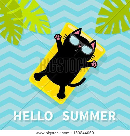 Hello Summer. Black cat floating on yellow air pool water mattress. Palm tree leaf. Cute cartoon relaxing character. Sunglasses. Sea Ocean water with zigzag waves. Blue background. Flat design. Vector