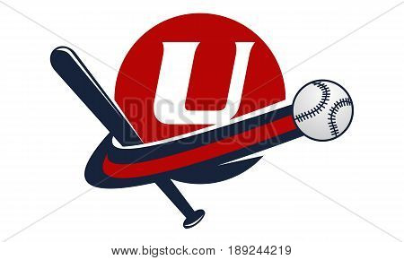 This image describe about Base Ball Letter U