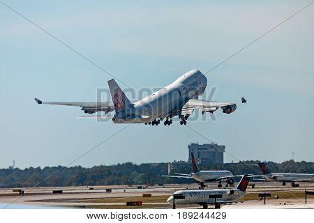 Atlanta Georgia - October 13 2016: China Airlines Cargo airplane takes off in Hartsfield-Jackson Atlanta International Airport.