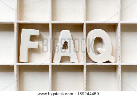 The word FAQ wood in slot Frequently asked questions