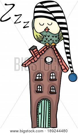 Scalable vectorial image representing a cute owl sleeping on a house, isolated on white.