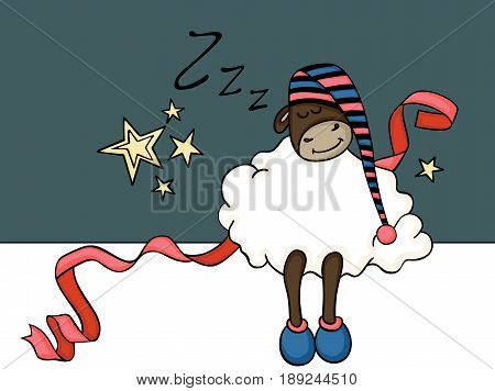 Scalable vectorial image representing a cute sheep sleeping banner, isolated on white.