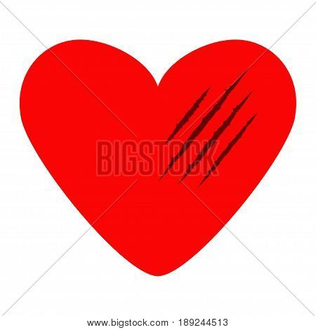 Red heart. Black bloody claws animal scratch scrape track. Cat tiger scratches paw shape. Four nails trace. Funny design element. Flat design. White background. Isolated. Vector illustration