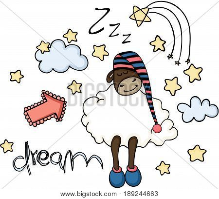Scalable vectorial image representing a dream cute sheep sleeping, isolated on white.