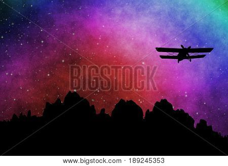 Old biplane silhouette on the starry sky. Retro wallpaper
