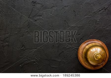 Booking Hotel Room And Ring Dark Desk Background Top View Mock Up