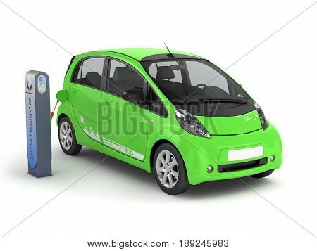Electric Car In Charging Station 3D Illustration