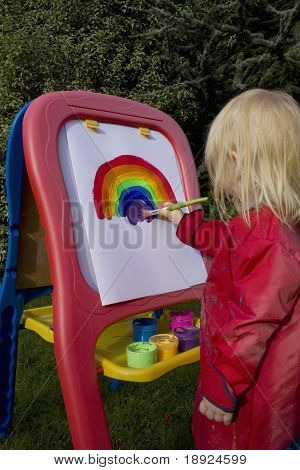 Child Painting Rainbow