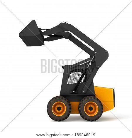 Excavator Isolated On White Background 3D Illustration