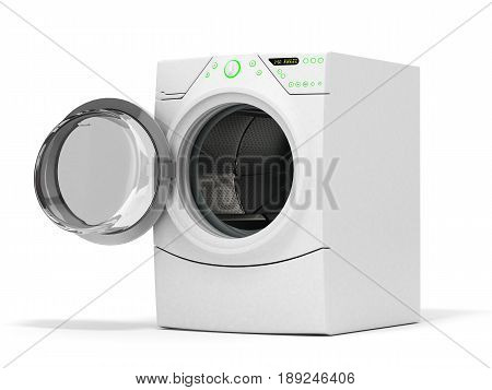 Isolated Washing Machine With Opened Door On A White Background 3D Illustration